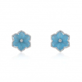 White Gold Blue Onyx & Diamond Flower Earrings
